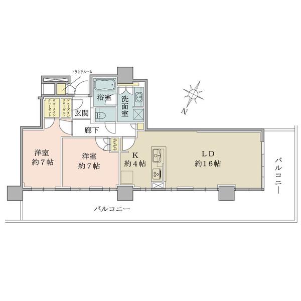 15階部分北西向き角部屋住戸/2LDK+WIC+SIC/75.91㎡【トランクルーム0.56㎡含む】