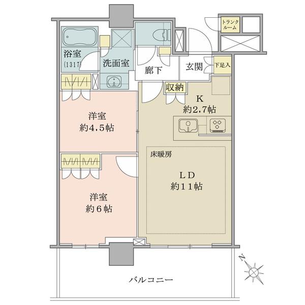 間取図(55.38㎡・2LDK・南西向き)