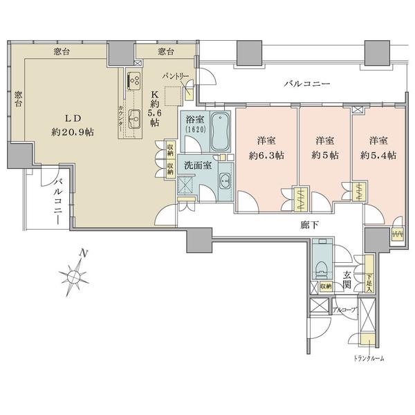 ブリリアマーレ有明の間取図/17F/11,800万円/3LDK/97.61 m²