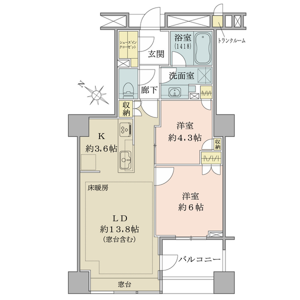 61.48㎡・2LDK 廊下部分が少ない機能的な間取です。