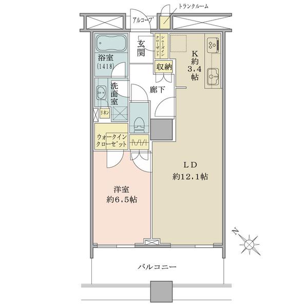 ブリリアマーレ有明タワー&ガーデンの間取図/14F/5,360万円/1LDK/53.79 m²