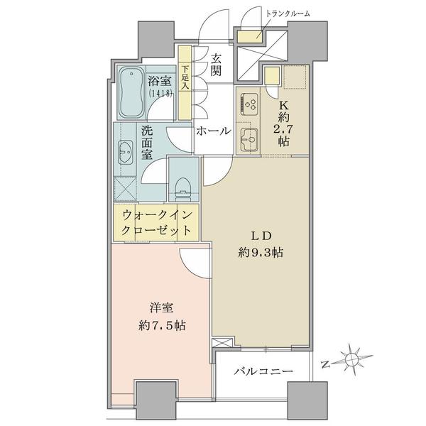間取り図/1LDK+WIC/50.86㎡