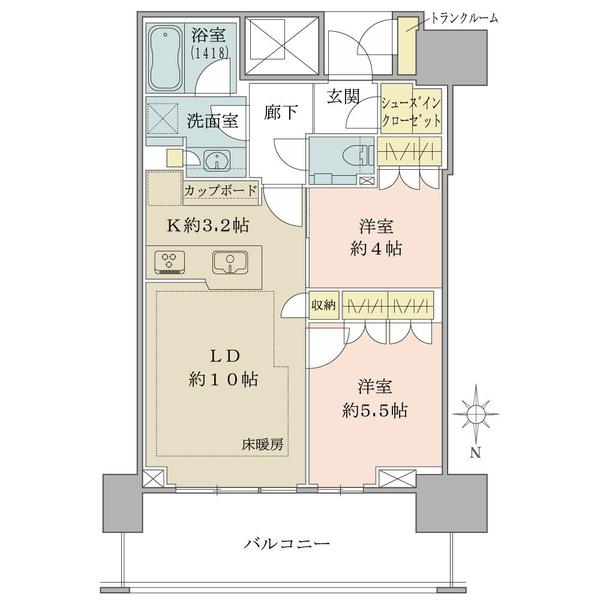ベイズタワー&ガーデンの間取図/21F/6,480万円/2LDK+SIC/55.58 m²