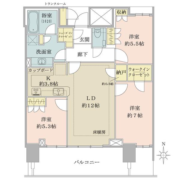ベイズタワー&ガーデンの間取図/15F/8,880万円/3LDK+WIC+SIC/79.66 m²