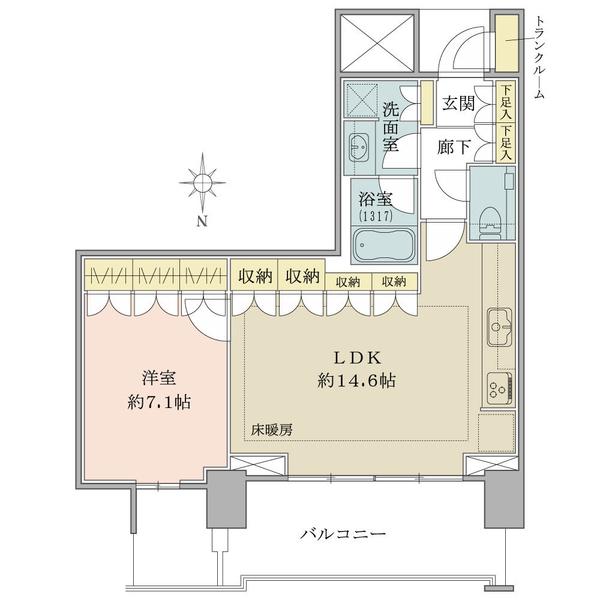 ベイズタワー&ガーデンの間取図/20F/6,250万円/1LDK/54.98 m²