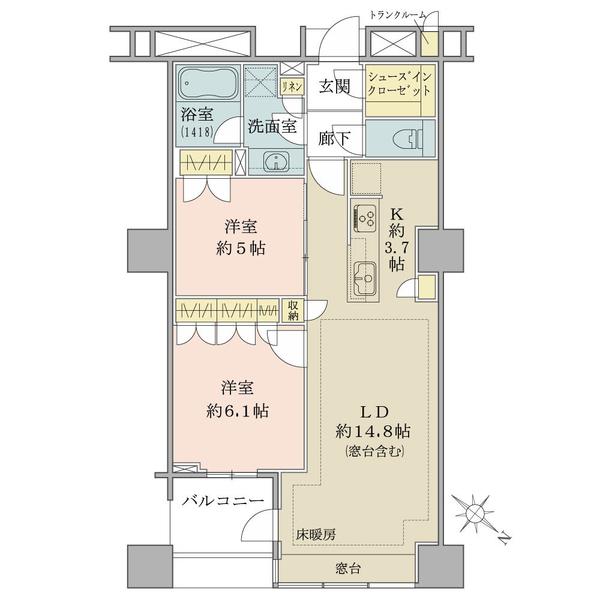 ブリリアマーレ有明タワー&ガーデンの間取図/13F/6,050万円/2LDK/66.11 m²