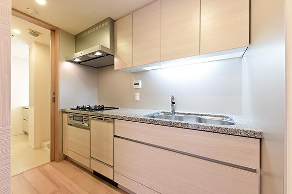 キッチン約4.2帖。食器洗浄乾燥機、浄水器一体型シャワー水栓等の充実の仕様。
