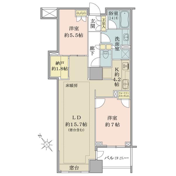 15階建13階部分。南西向き・74.86㎡の2LDK+N+WICタイプ。