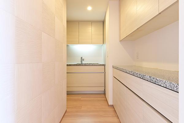 キッチン約4.2帖。洗面室・キッチン・リビングダイニングまで直接通り抜けできます。