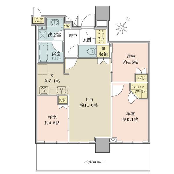 南東向き/26階/3LDK+WIC+SIC