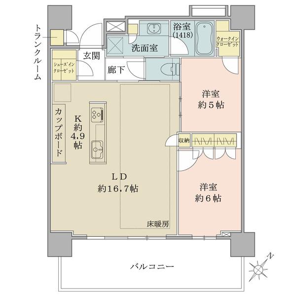 19階南東向き/2LDK+WIC+SIC/70.63㎡【トランクルーム0.56㎡含む】
