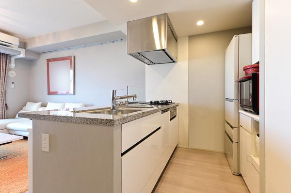 引出し収納の他、食器等の収納に便利なカップボードあり。食洗機・ディスポーザーも装備しています。