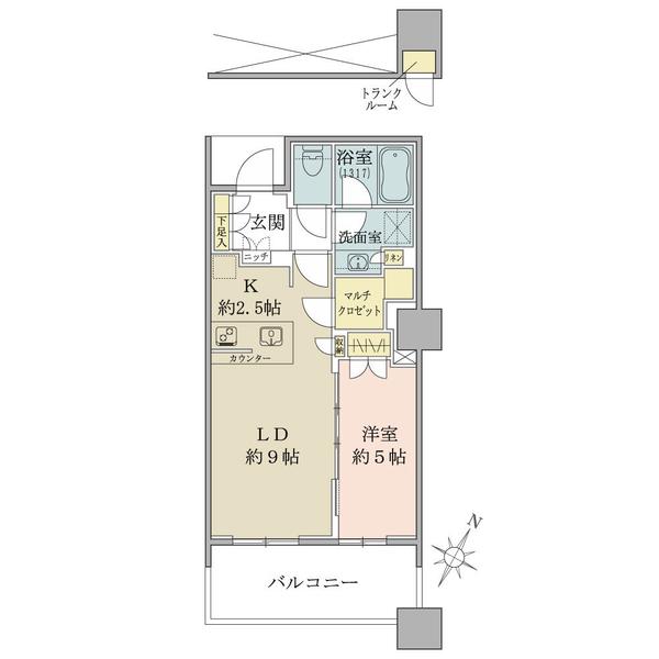 23階南東向き・1LDK+マルチクロゼット。収納豊富・廊下部分が少なく無駄のない間取りが特徴です。