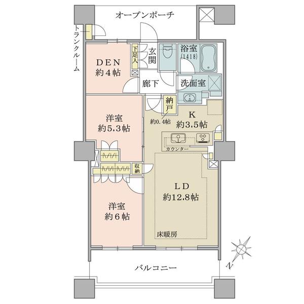 69.06㎡【トランクルーム0.39㎡含む】/ 2LDK+DEN+N