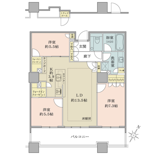 内廊下フロア/3階南東向き/専有面積83.30㎡/3LDK/ワイドスパン設計