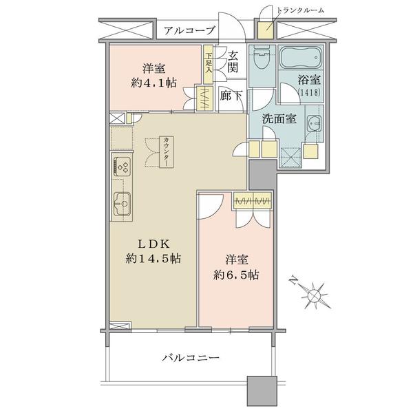 ブリリアマーレ有明タワー&ガーデンの間取図/22F/6,380万円/2LDK/57.67 m²