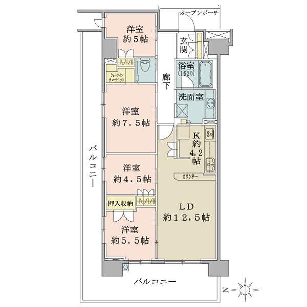 ブリリアシティ横浜磯子K棟の間取図/2F/4,680万円/4LDK/91.04 m²