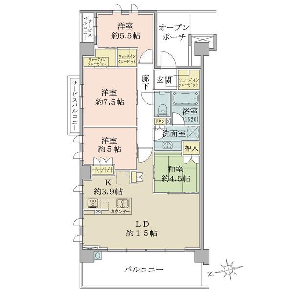 ブリリアシティ横浜磯子A棟5階の間取図/5F/4,980万円/4LDK+WIC/93.5 m²