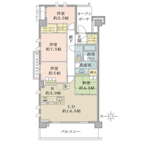 ブリリアシティ横浜磯子B棟4階の間取図/4F/5,180万円/4LDK+WIC/92.83 m²