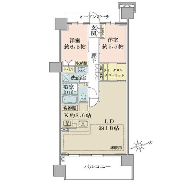 ブリリアシティ横浜磯子D棟10階の間取図/10F/4,980万円/2LDK+WIC/75.88 m²