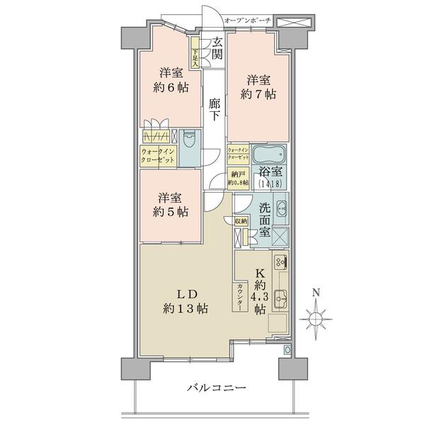 ブリリアシティ横浜磯子G棟11階の間取図/11F/5,280万円/3LDK+2WIC/80.49 m²
