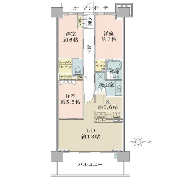 ブリリアシティ横浜磯子K棟9階の間取図/9F/5,250万円/3LDK+2WIC/80.84 m²