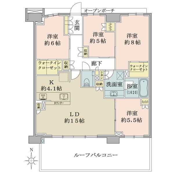 ブリリアシティ横浜磯子D棟11階の間取図/11F/7,780万円/4LDK+WIC/100 m²