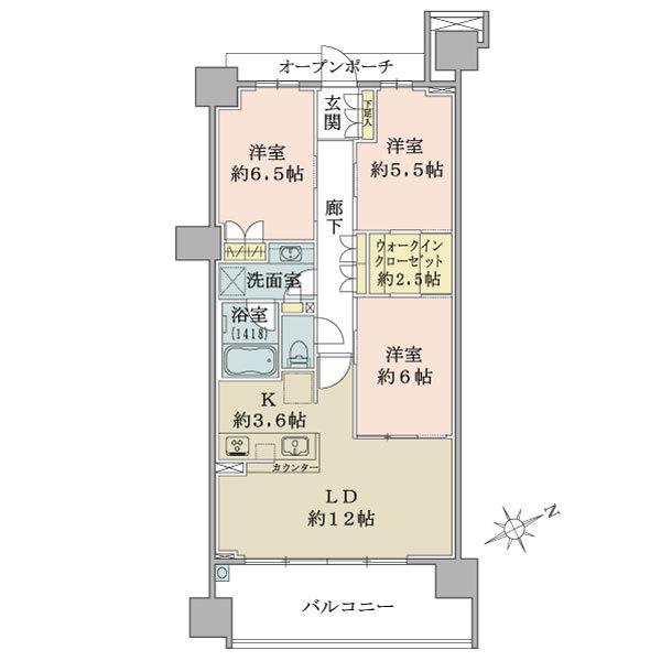 ブリリアシティ横浜磯子D棟5階の間取図/5F/4,580万円/3LDK+WIC/75.88 m²