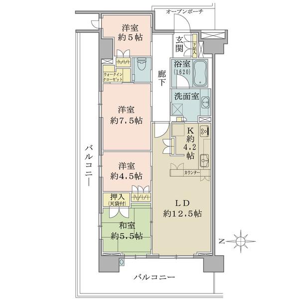 ブリリアシティ横浜磯子K棟7階の間取図/7F/5,380万円/4LDK+WIC/91.04 m²