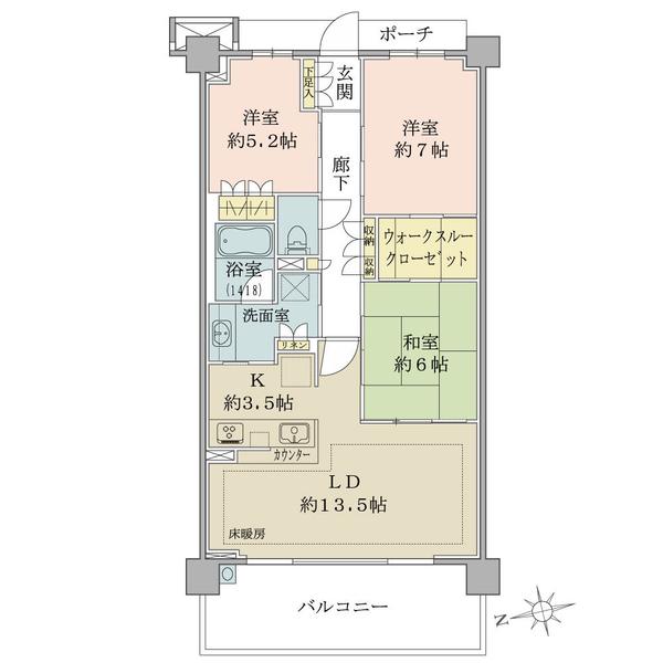 ブリリアシティ横浜磯子A棟3階の間取図/3F/4,180万円/3LDK+WTC/80.52 m²