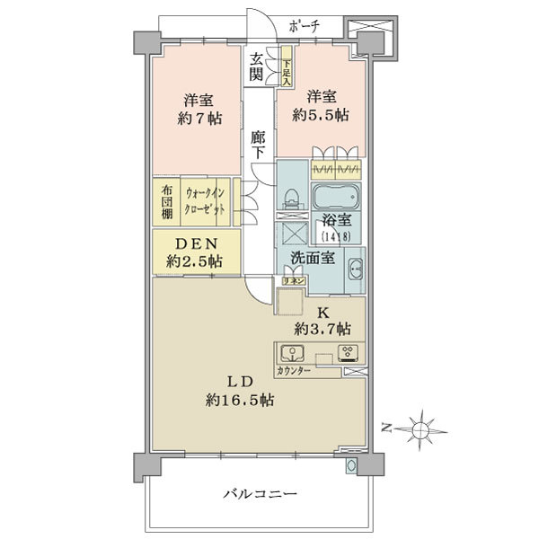 ブリリアシティ横浜磯子B棟4階の間取図/4F/4,480万円/2LDK+DEN+WIC/80.56 m²
