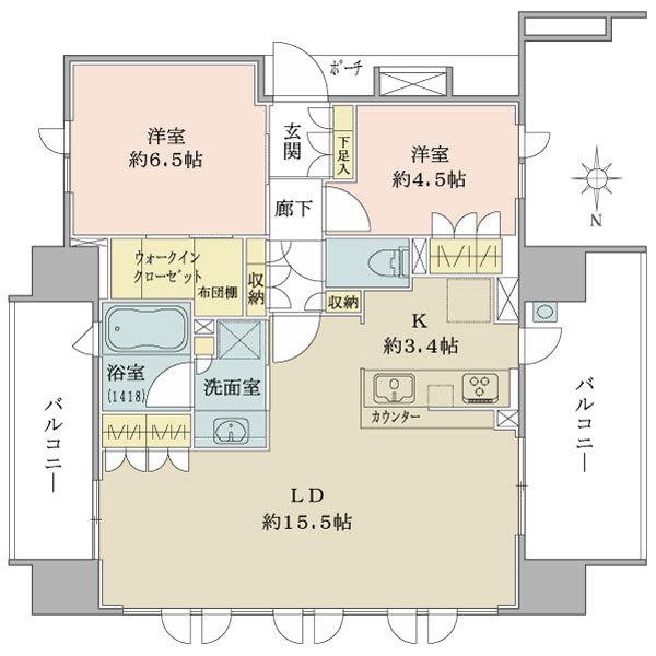 ブリリアシティ横浜磯子G棟の間取図/10F/4,380万円/2LDK+WIC/67.4 m²
