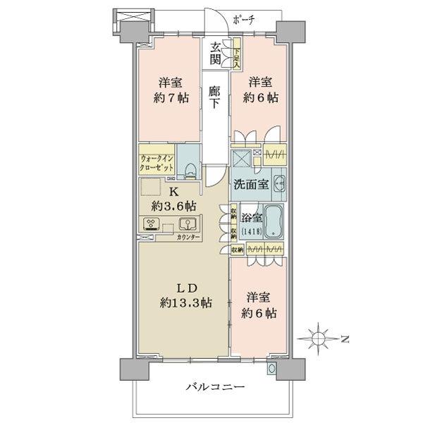 ブリリアシティ横浜磯子K棟10階の間取図/10F/5,480万円/3LDK+2WIC/80.84 m²