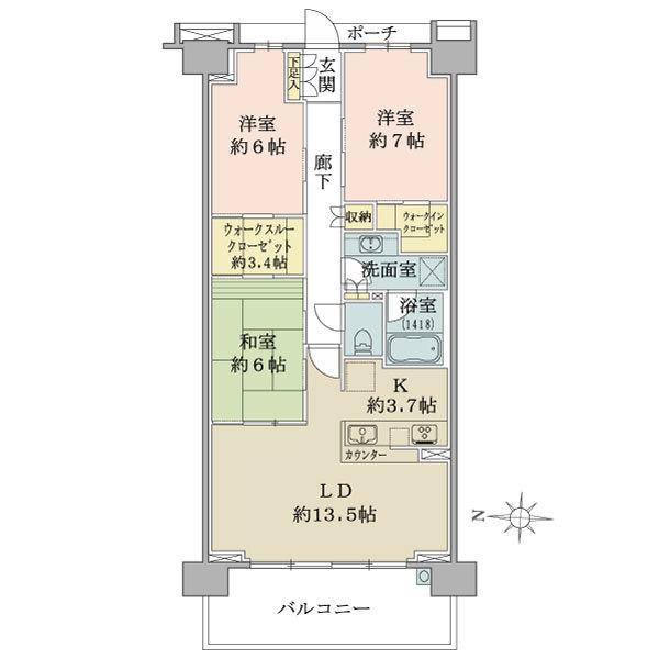 ブリリアシティ横浜磯子D棟4階の間取図/4F/4,580万円/3LDK+WIC/83.79 m²