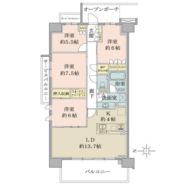 ブリリアシティ横浜磯子E棟4階 角住戸の間取図/4F/5,250万円/4LDK+WIC/95.46 m²