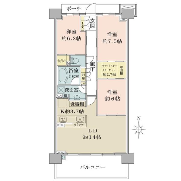 ブリリアシティ横浜磯子D棟8階 南向の間取図/8F/5,480万円/3LDK+WTC+WIC/85.86 m²
