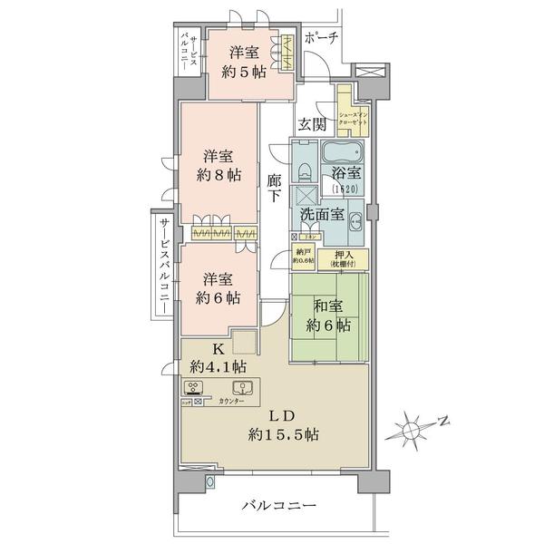 ブリリアシティ横浜磯子М棟4階角住戸の間取図/4F/5,900万円/4LDK+SIC/104.77 m²