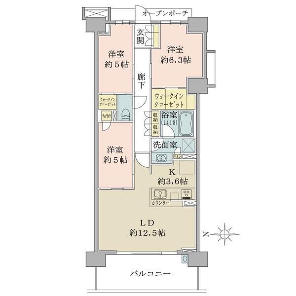 ブリリアシティ横浜磯子D棟6階の間取図/6F/4,380万円/3LDK+2WIC/75.95 m²