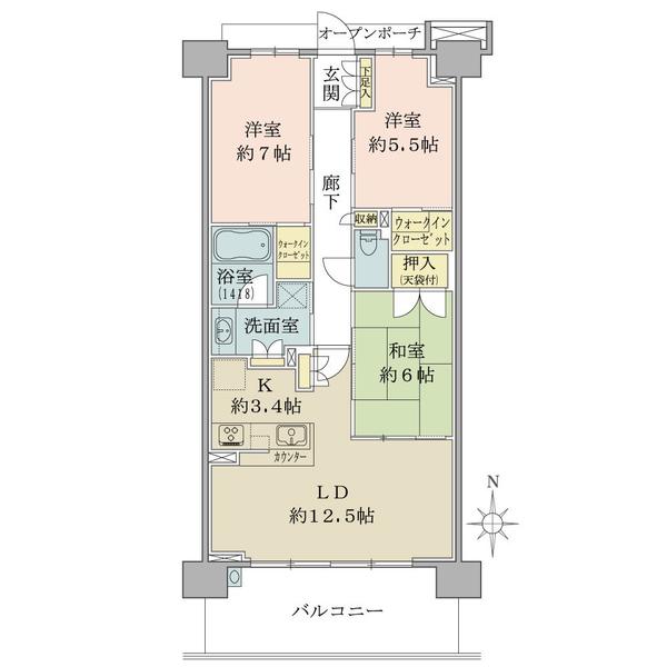 ブリリアシティ横浜磯子L棟7階の間取図/7F/4,780万円/3LDK+2WIC/78.74 m²