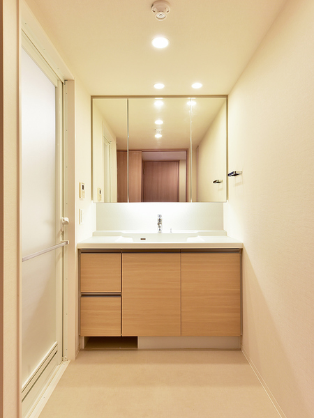 洗面台 ボウル一体型で清潔感長持ち、収納力豊富、ヘルスメーター入れもついてすっきり片付きます