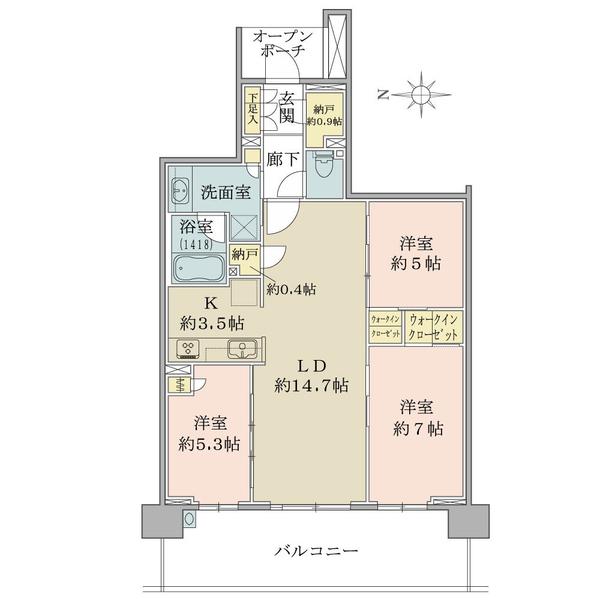 ブリリアシティ横浜磯子E棟11階の間取図/11F/4,700万円/3LDK+2WIC/78.86 m²