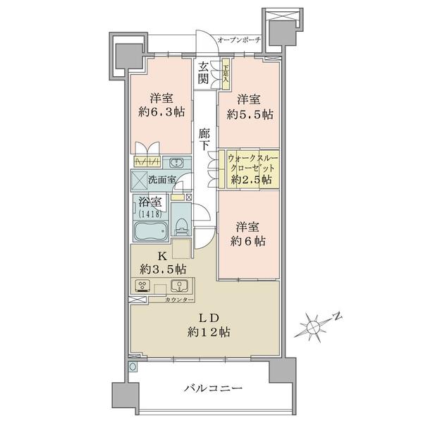 ブリリアシティ横浜磯子 D棟6階の間取図/6F/4,470万円/3LDK/75.88 m²