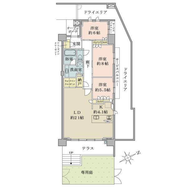 ブリリアシティ横浜磯子M棟1階の間取図/1F/5,690万円/3LDK+N/103.91 m²