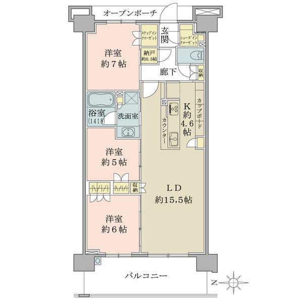 ブリリアシティ横浜磯子E棟7階の間取図/7F/4,480万円/3LDK+N/83.06 m²