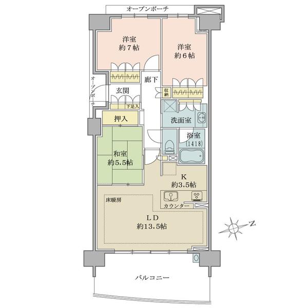 ブリリアシティ横浜磯子J棟11階の間取図/11F/5,490万円/3LDK/81.13 m²
