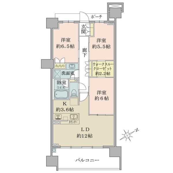 ブリリアシティ横浜磯子 D棟11階の間取図/11F/4,930万円/3LDK/75.88 m²