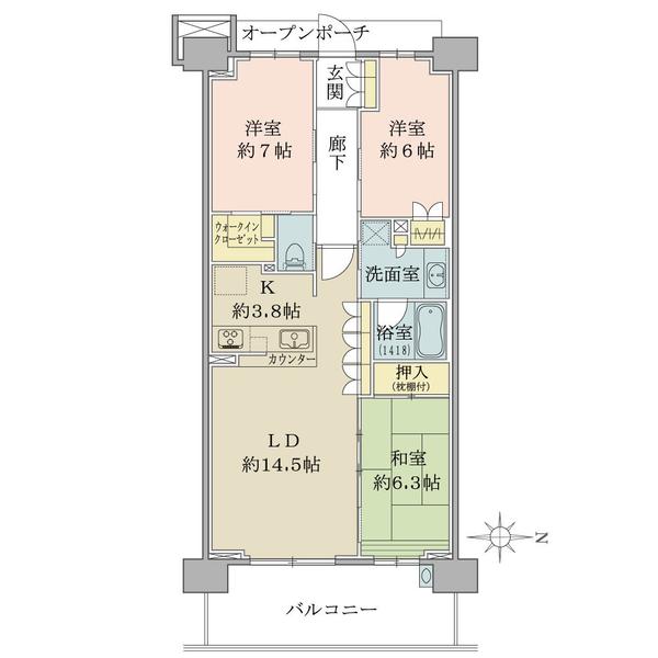 ブリリアシティ横浜磯子K棟3階の間取図/3F/4,490万円/3LDK+WIC/83.84 m²