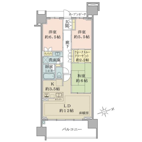 ブリリアシティ横浜磯子D棟5階の間取図/5F/4,860万円/3LDK+WTC/75.88 m²