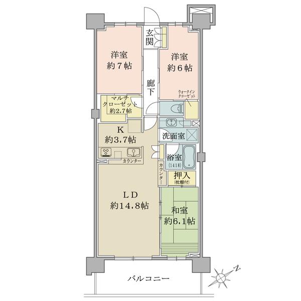 ブリリアシティ横浜磯子 М棟の間取図/4F/4,680万円/3LDK+CC+MC+WIC/83.82 m²