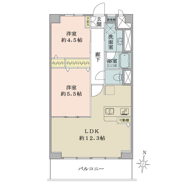 石神井公園マンションの間取図/2F/2,390万円/2LDK/51.3 m²